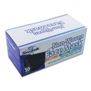 NEW BLACK 3-Ply Non-Woven Disposable Mask 50pcs