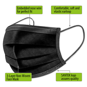NEW BLACK 3-Ply Non-Woven Disposable Mask 500pcs (10 x 50pcs pack) US$13/box