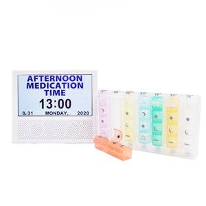 Discounted bundle - Pop-up Style Weekly Pill Organiser + 3-in-1 Digital Clock, Photo Frame & Medication Reminders