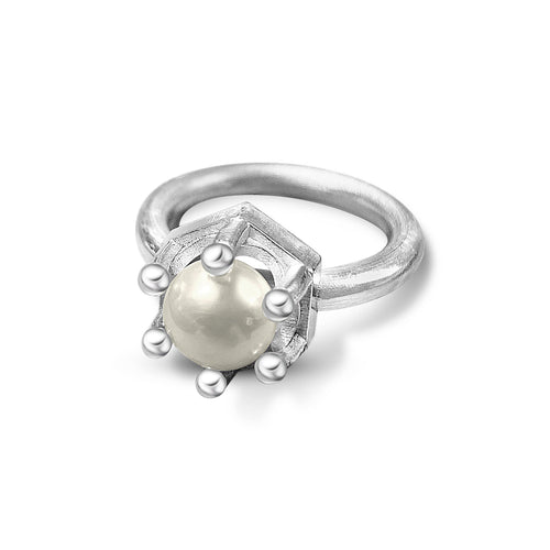 Crown Ring with Pearl - Ceeb Wassermann Jewellery