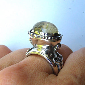 Heavy Sterling Silver Ring with Rutilated Quarz - Ceeb Wassermann Jewellery