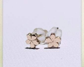 Tiny Sakura Flower #4 Stud Earrings in Rose Gold - Ceeb Wassermann Jewellery