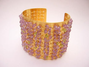 Gold Cuff with woven Amethysts - Ceeb Wassermann Jewellery
