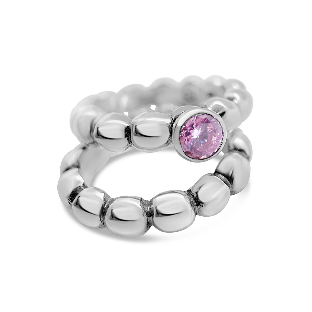 Morganite Pebble Stacking Ring Set - Ceeb Wassermann Jewellery