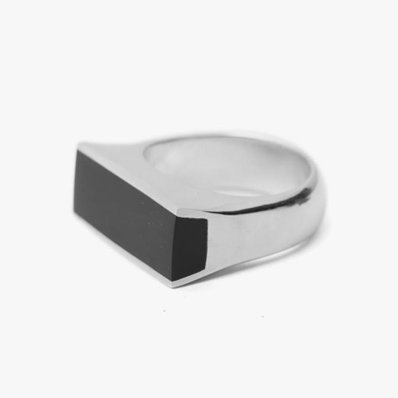 Plate Signet Ring Onyx Gemstone