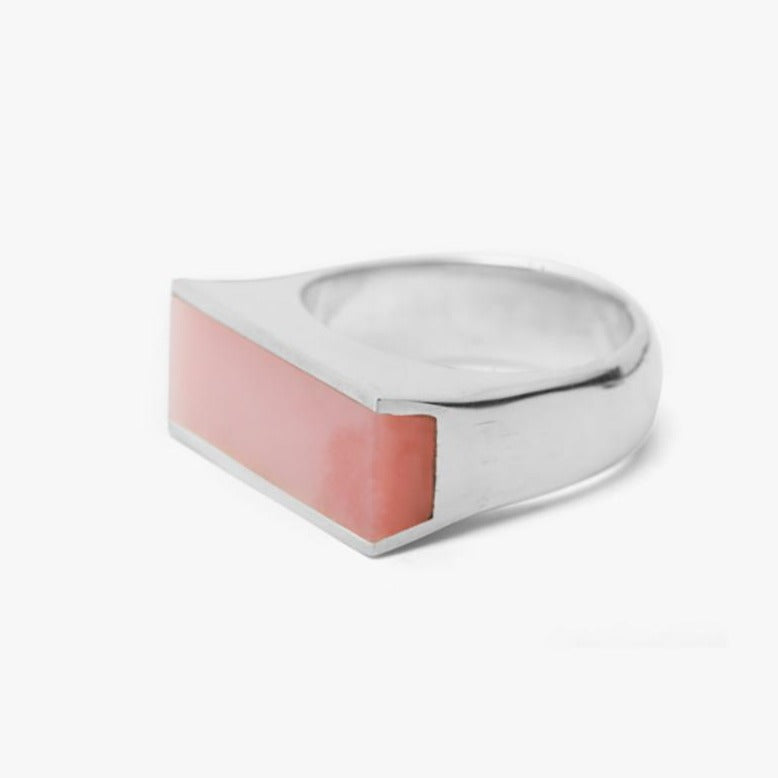 Plate Signet Ring Pink Opal