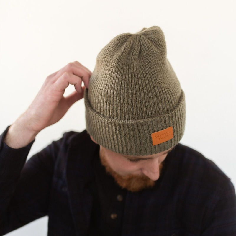 SAWTOOTH THICK KNIT MEN'S BEANIE – OLIVE