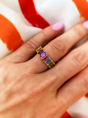 Rainbow Emerald-Cut Gemstone Ring