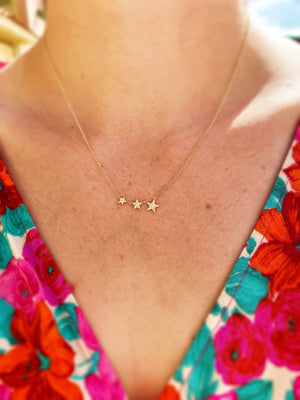 Three Star Diamond Necklace