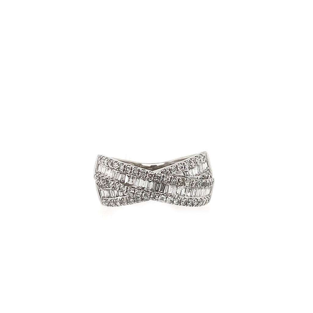 Criss Cross Baguette Diamond Ring