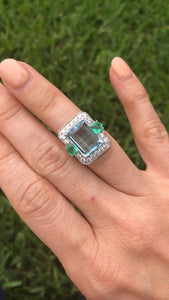Aquamarine Emerald Cocktail Ring