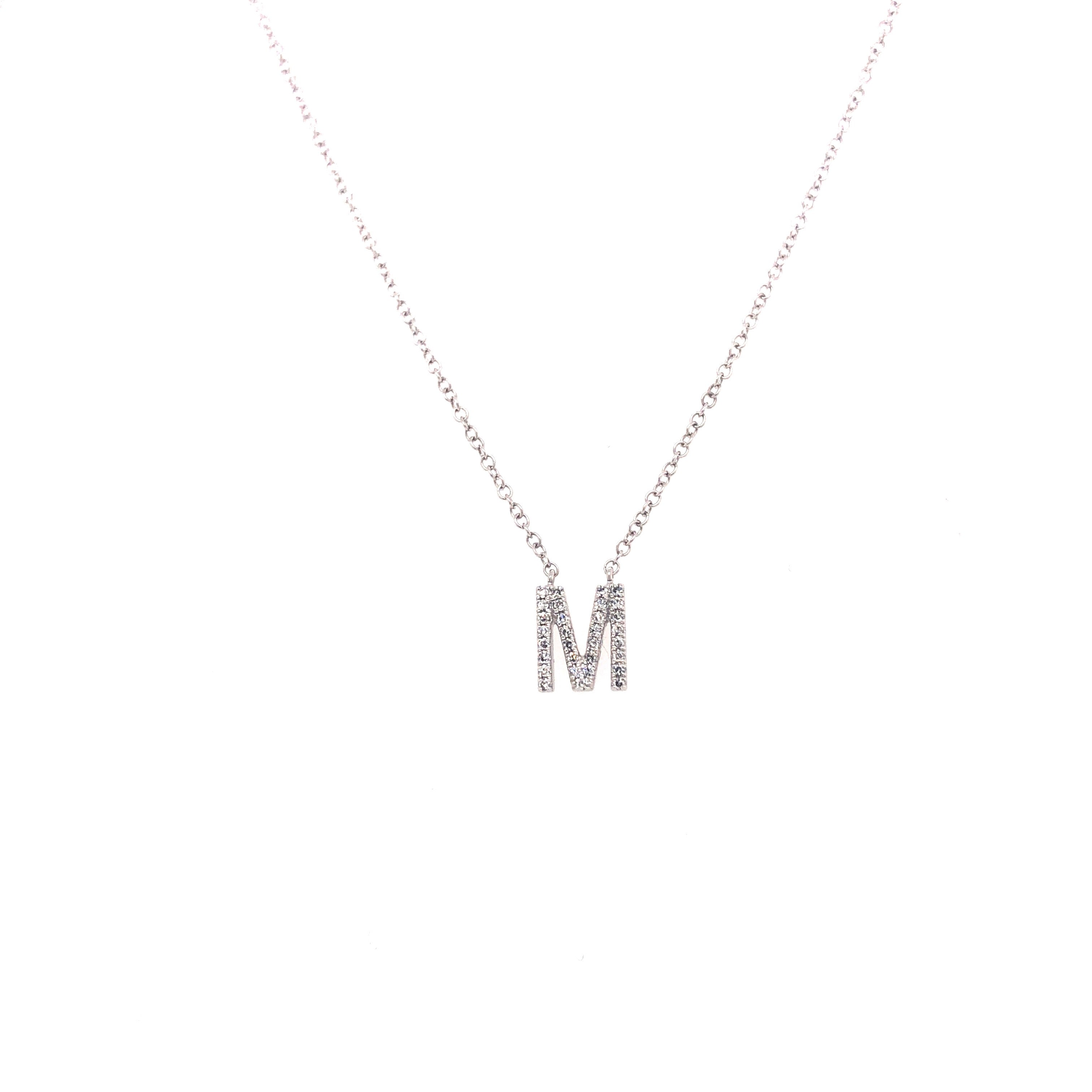 White Gold Initial Diamond Necklace