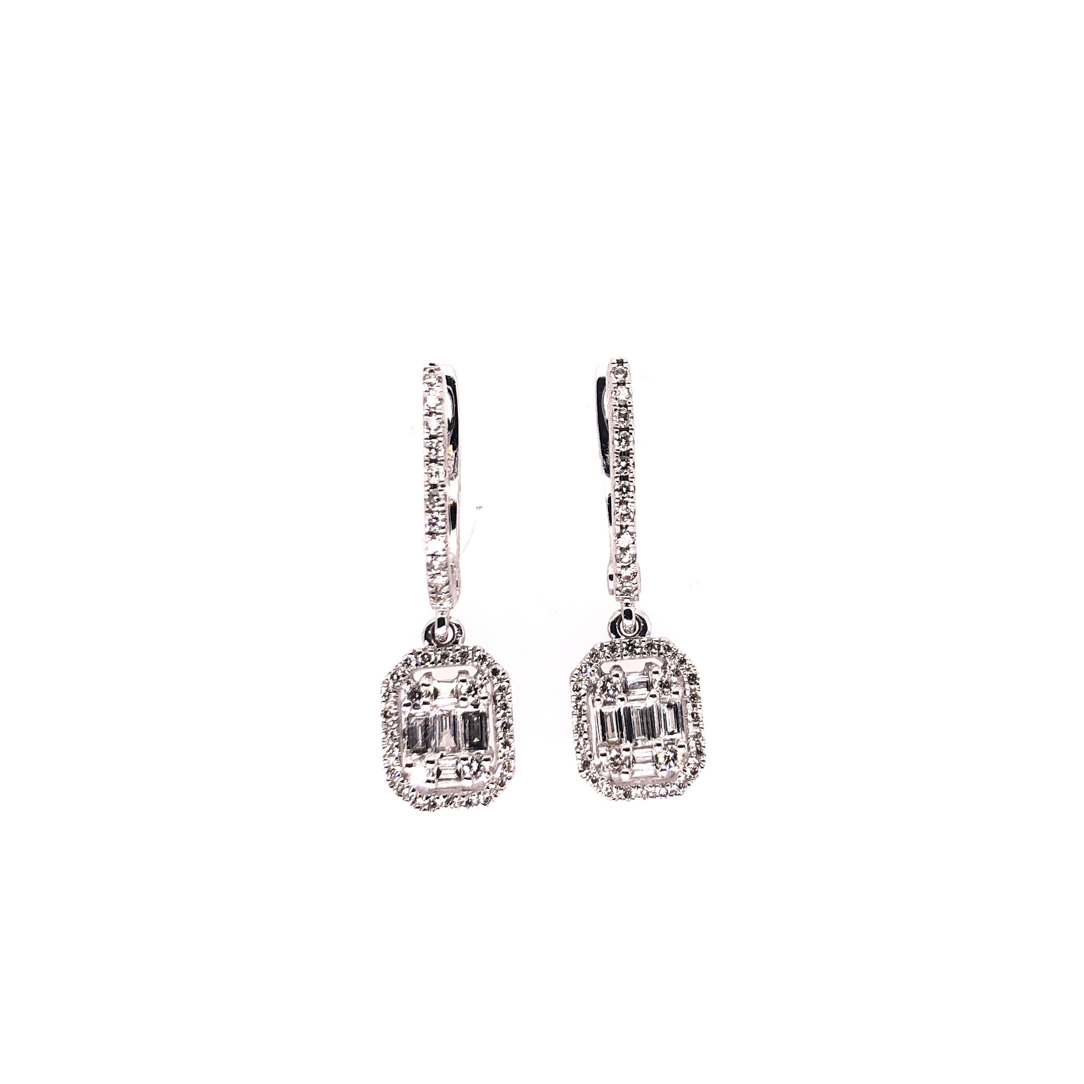 Diamond Earrings with Baguette drop