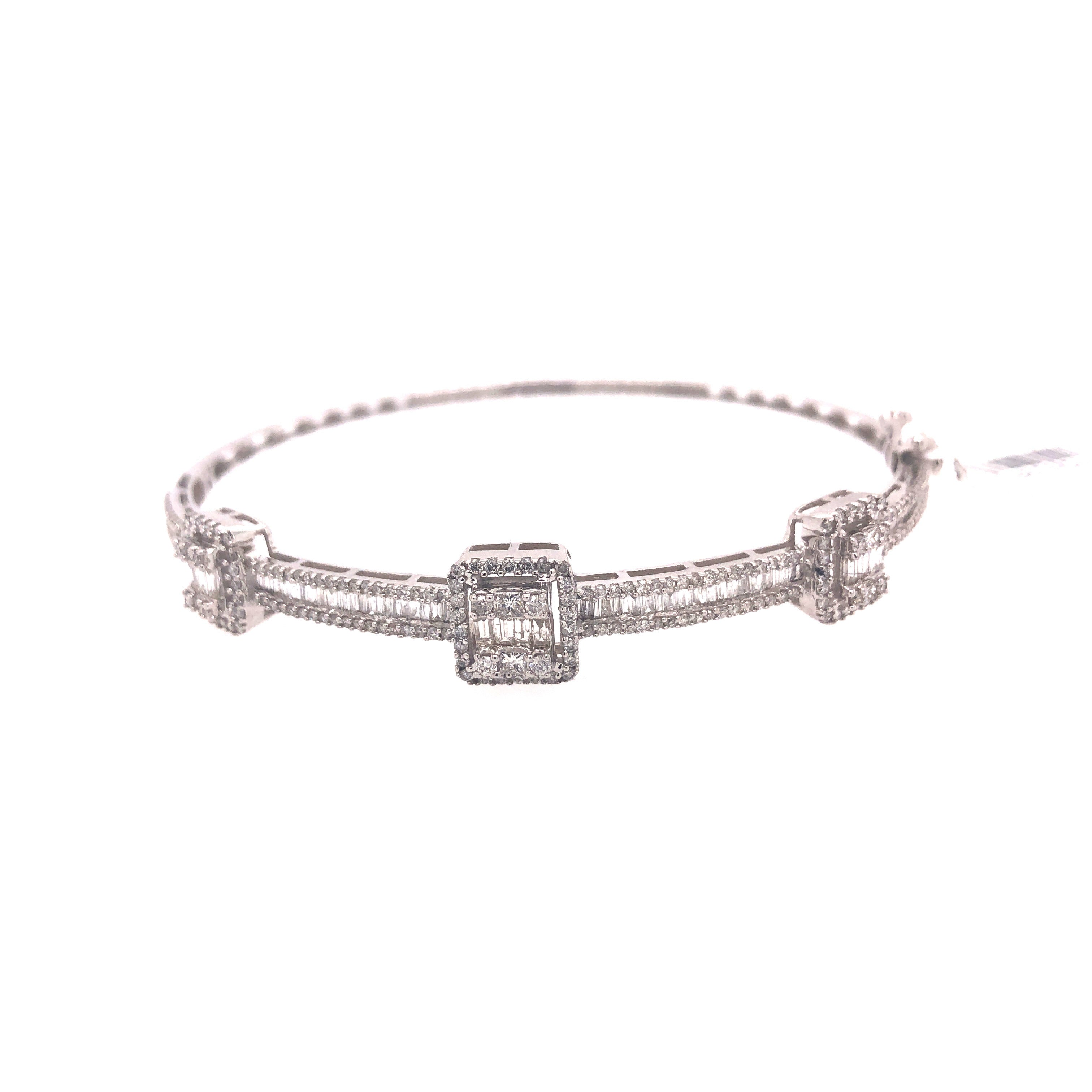 Halo Baguette Diamond Bangle