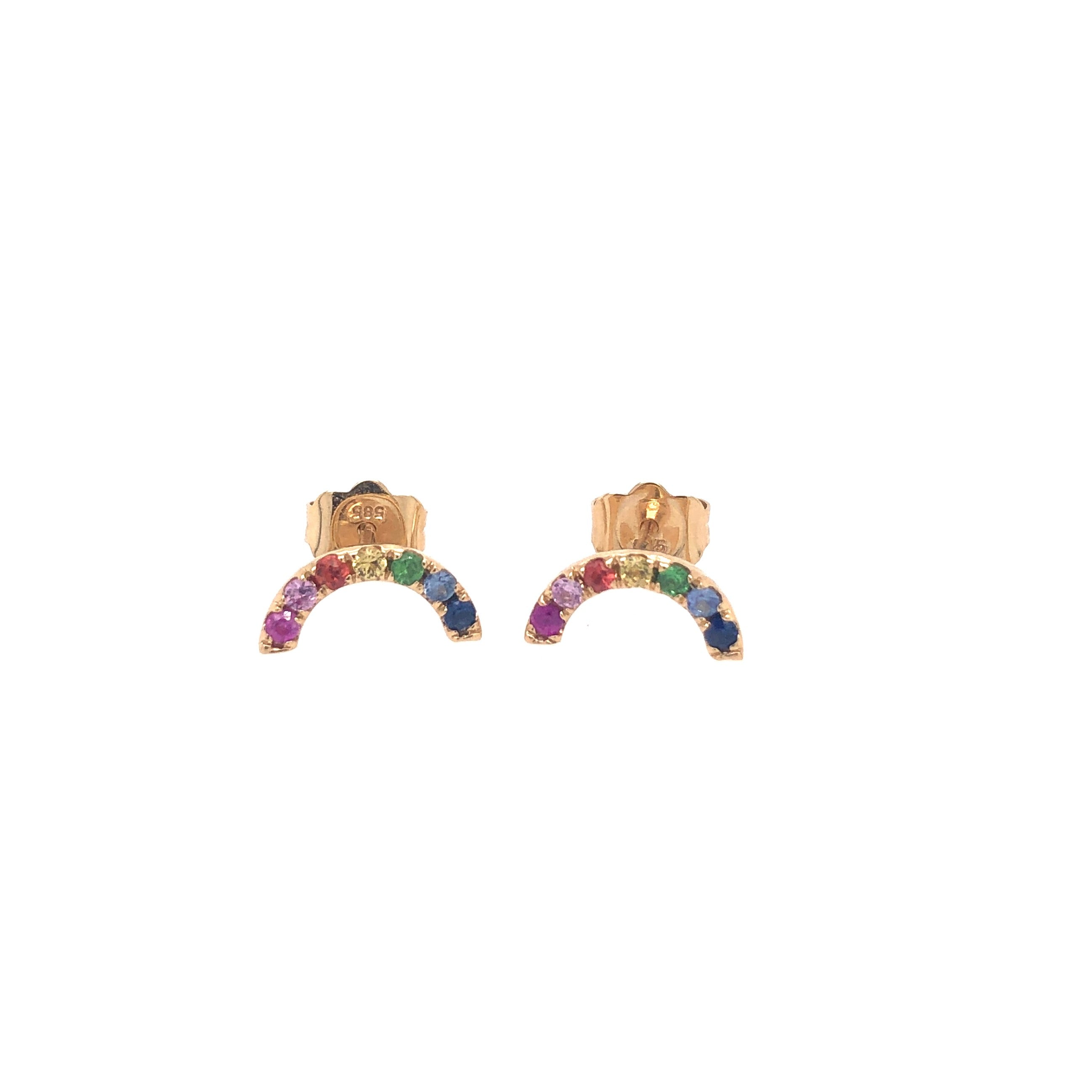 Mini-Rainbow Gemstone Studs
