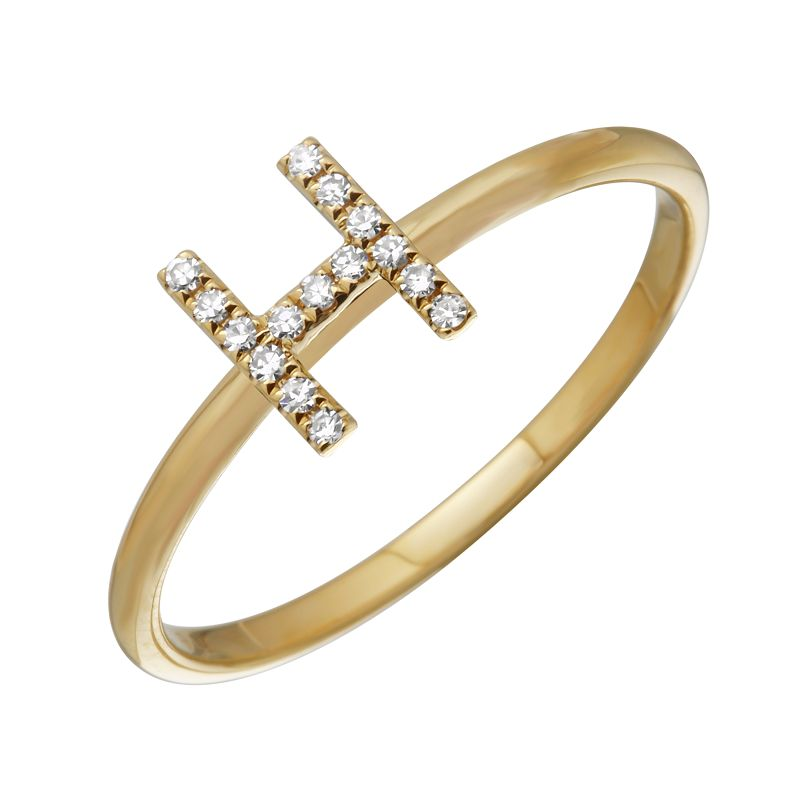 Yellow Gold Initial Diamond Ring