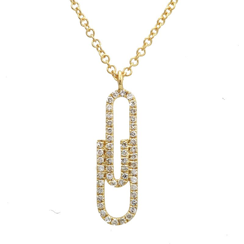 Paper Clip Diamond Necklace