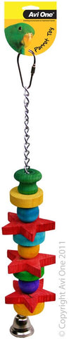 Avi One Parrot Toy - Chain With Stars; Beads & Bell 29cm