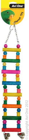 Avi One Parrot Toy - Block Ladder With Bells Small