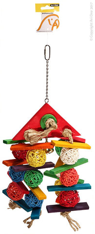 Avi One Parrot Toy - Wicker Balls With Wooden Triangle Top 20x44cm