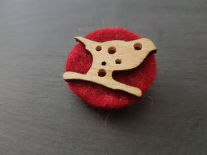 Wool and wood Silhouette Badge / Brooch - Bird