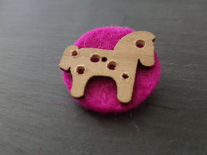 Wool and wood Silhouette Badge / Brooch - Horse