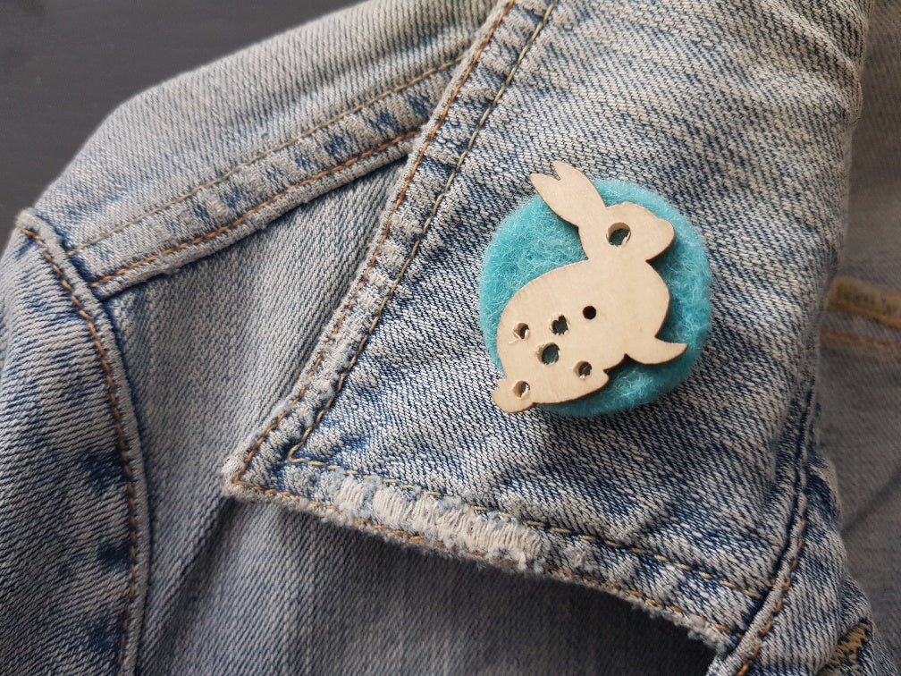 Wool and wood Silhouette Badge / Brooch - Rabbit