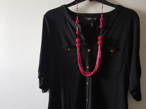 Adjustable Length Wood and wool long necklace - Rosewood Red or Navy