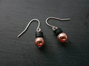 Rose Gold Hematite and Polymer Earrings - Other colours available