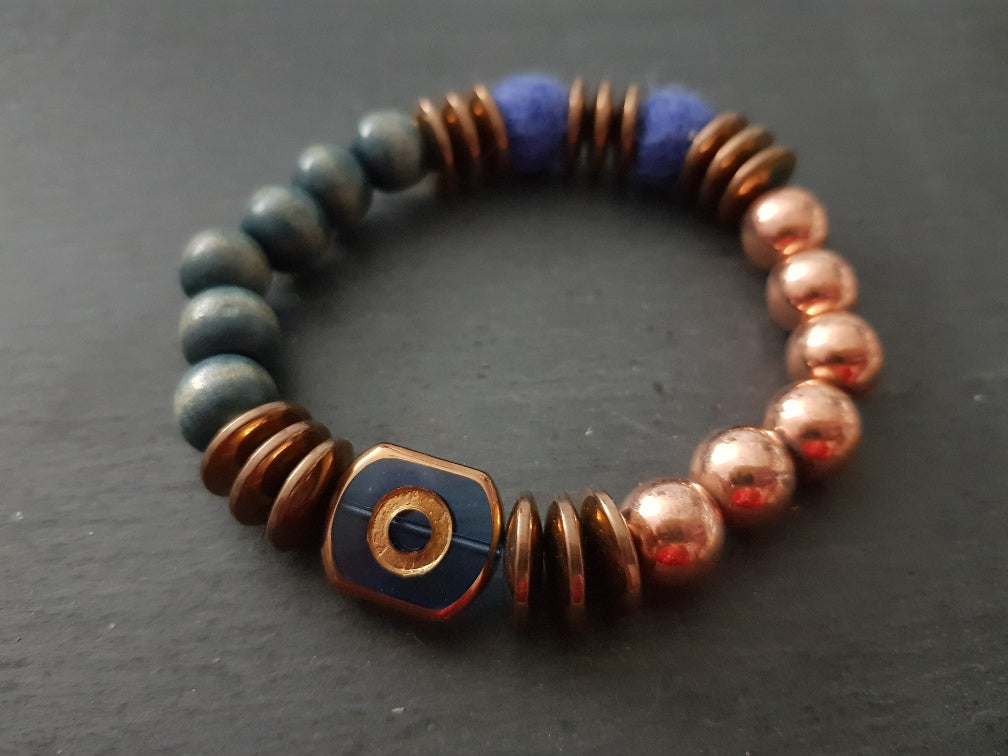 Blue Electroplate mixed media bracelet