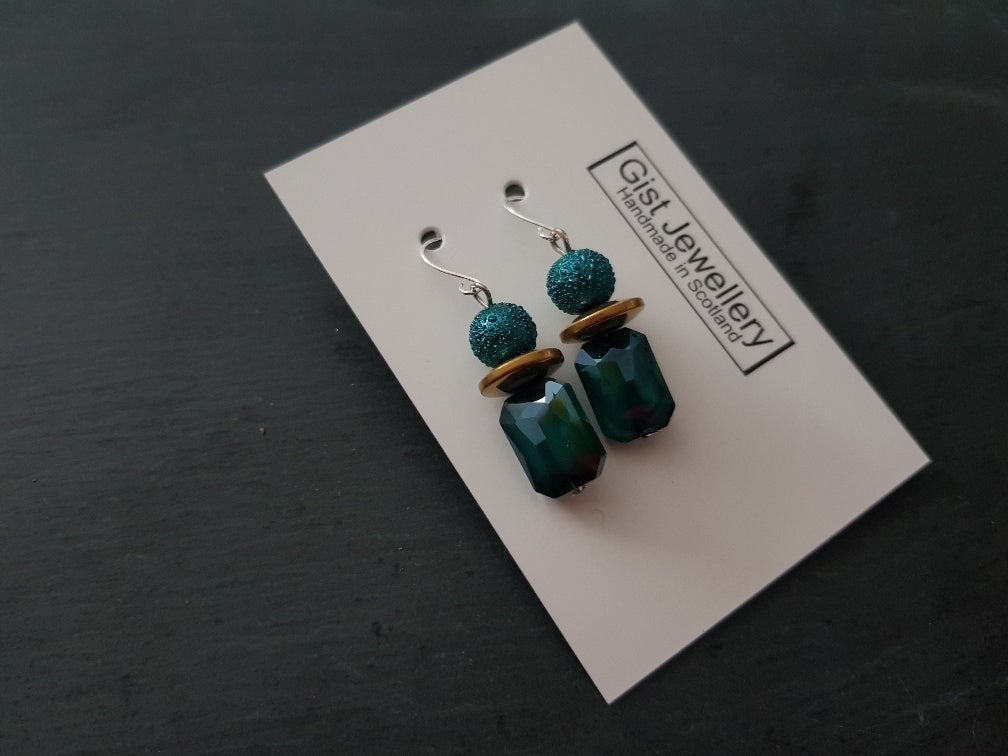Moon pearl and Electroplate Glass Earrings - Other colours available