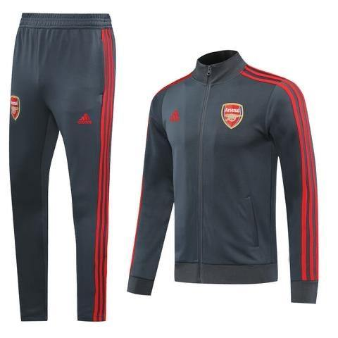 20/21 Arsenal Grey/Red Tracksuit - Jersey Loco