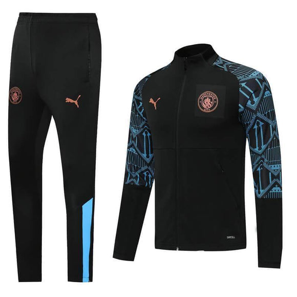 20/21 Manchester City Black/Blue Tracksuit - Jersey Loco