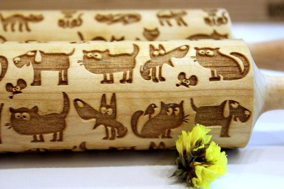 Swedish Vallhund Small Rolling Pin for Cookies with Dog/'s Head Roller with Your Patter Embossing Rolling Pin Engraved Rolling-pin