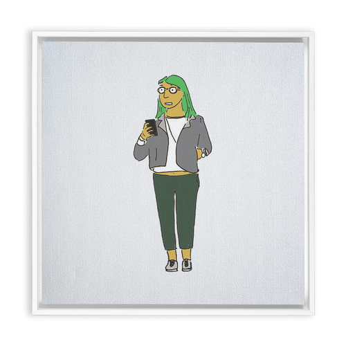 Green-Hair Girl Framed Traditional Stretched Canvas