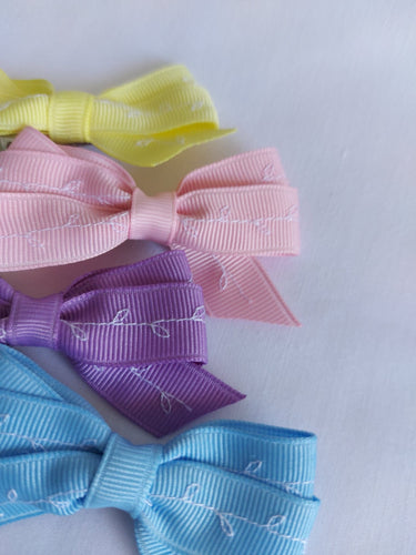 Sweet Pack of four  Small Rosie Embroidery Bows
