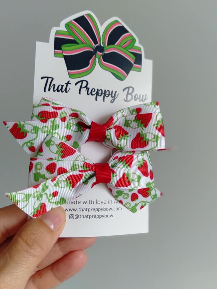 Preppy Strawberry Rosie Bows Set
