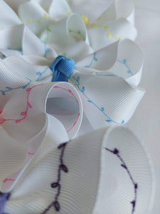 White Bows with Easter Colour Embroidery