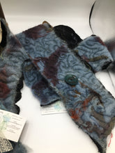 Load image into Gallery viewer, Hand dyed indigo wool felted art scarf