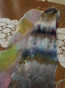 Wool/silk hand dyed scarf