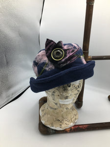 Handmade blue fleece hat
