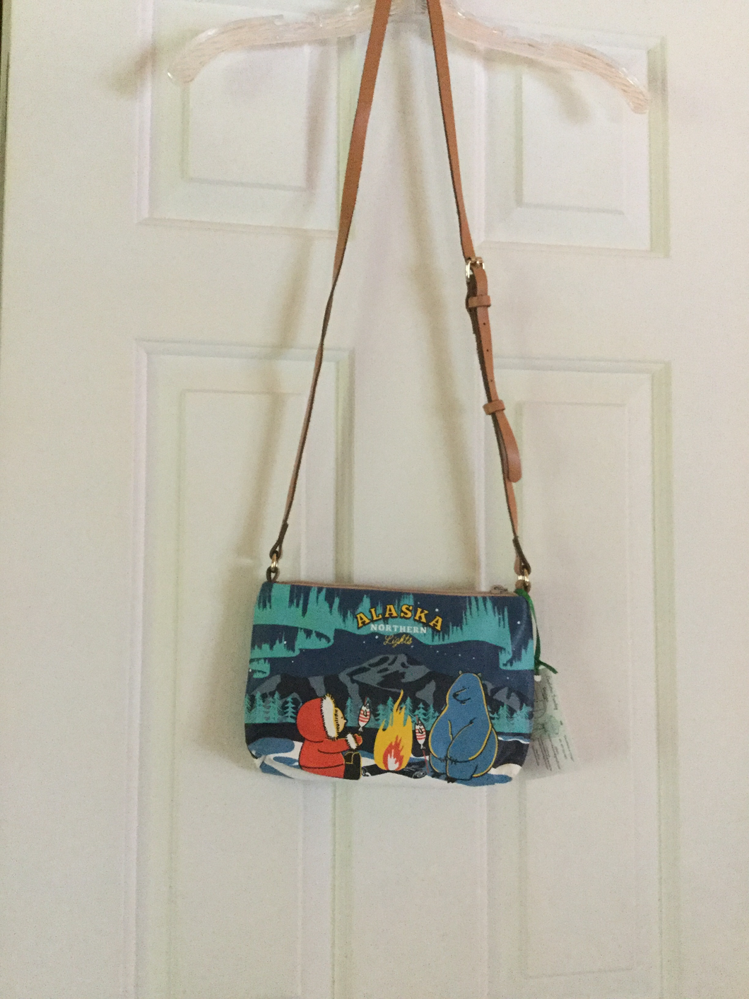 Leather strap Alaskan themed purse