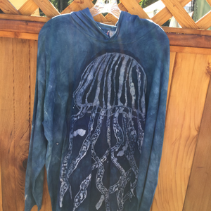 Hand dyed & batik jelly fish hoodie