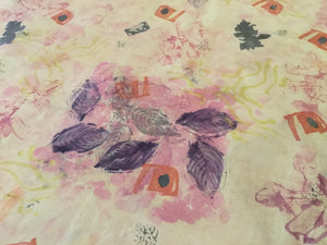 Natural dyed botanical tablecloth/fabric Art  cloth