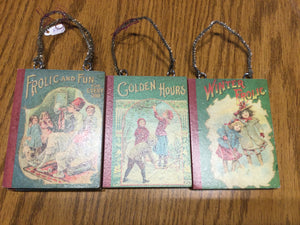 Reproduction vintage book ornament