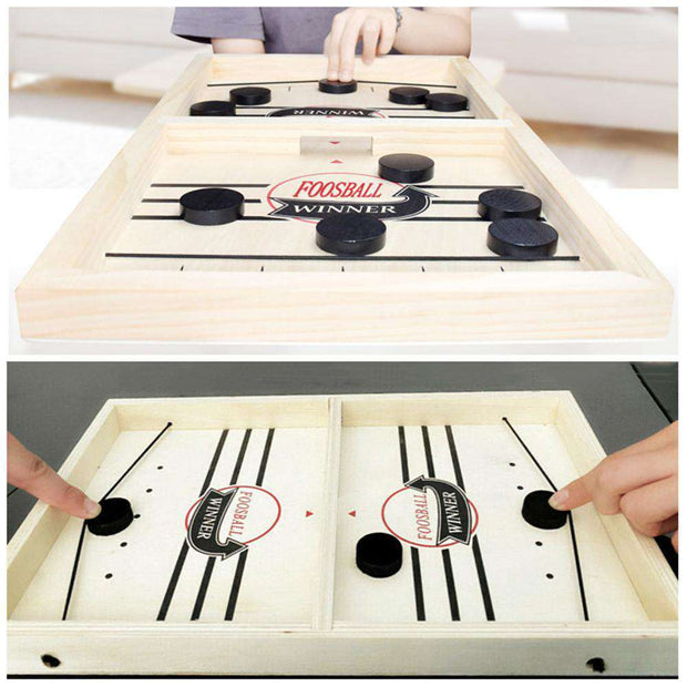 Table Hockey Foosball Game for Adult & Children - Sling Pucks For a Tabletop Battle