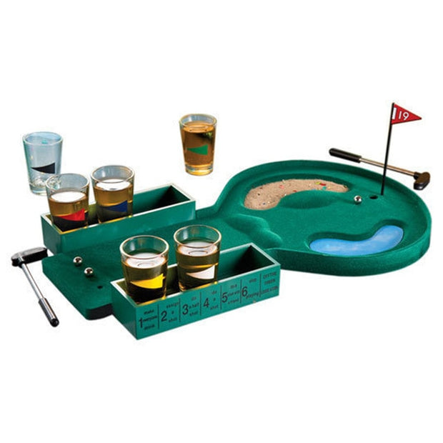 Mini Countertop Golf Drinking Game with 6 Glasses