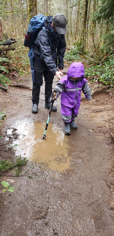 toddler hiking with dad