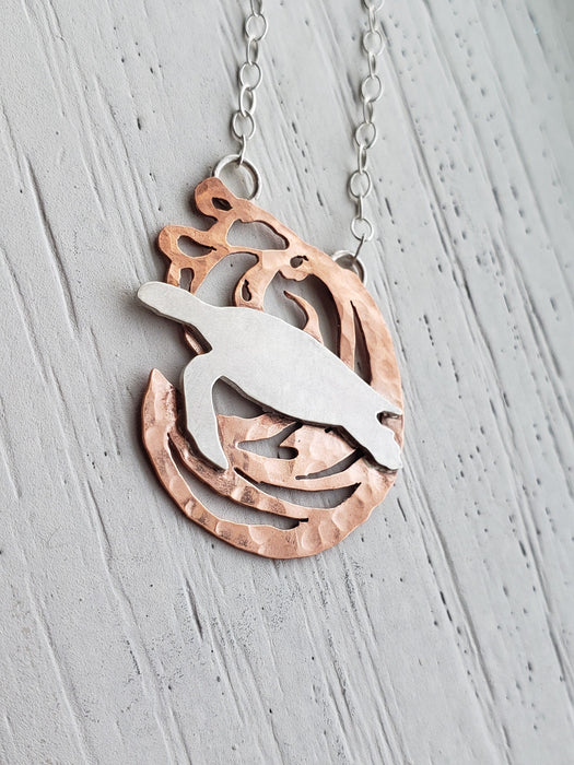 Necklace - Silver Sea Turtle With Wave Necklace