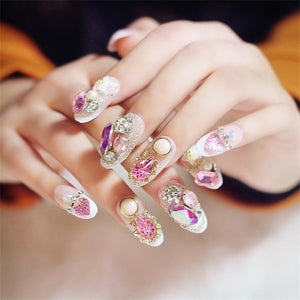 24Pcs Shining Rhinestone  False Nails